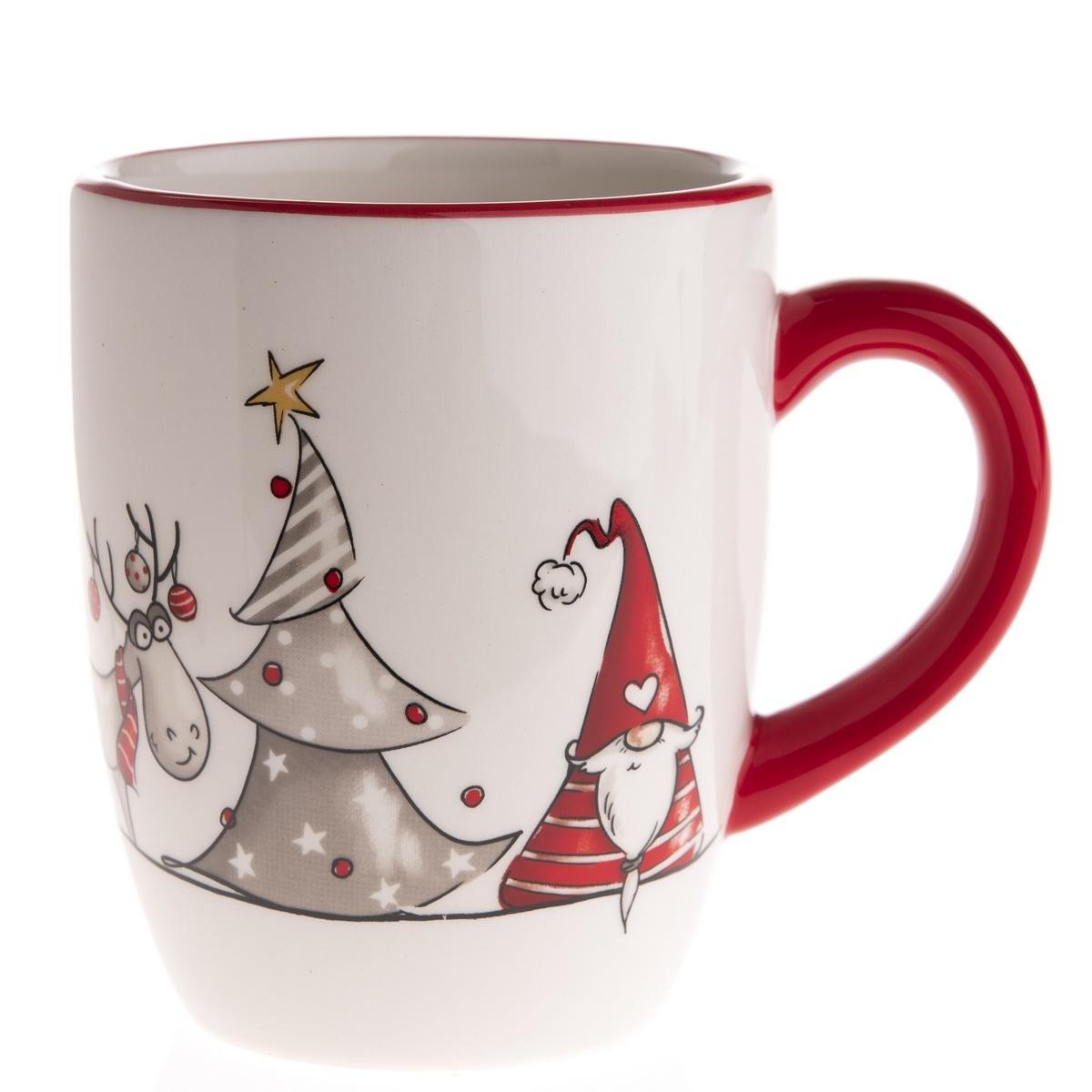 Vianočný keramický hrnček Škriatok a sob, 350 ml, červená