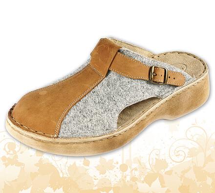 Dámské pantofle s plnou špičkou a nastavitelným pá, šedá, 39