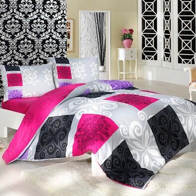 Bavlněné povlečení Sedef růžová, 220 x 200 cm, 2 ks 70 x 90 cm