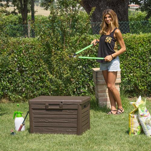 Produktové foto Florida Zahradní úložný box na polstry a nářadí MALÝ - Hnědá
