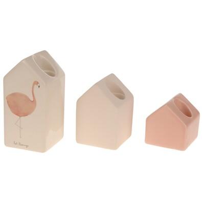 Set suporturi lumânare 3 piese Flamingo