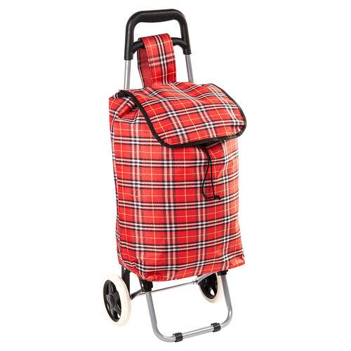 Nákupná taška na kolieskach Kocka, červená