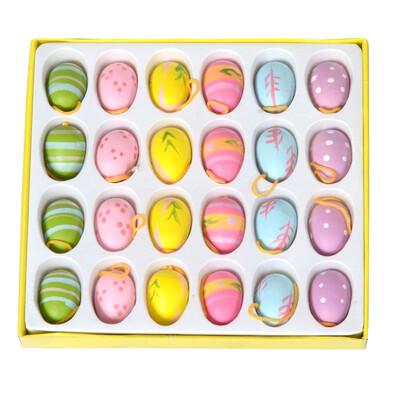 Velikonoční dřevěná vajíčka závěsná, 24 ks