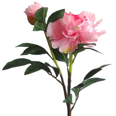 Umělá květina pivoňka růžová 2 ks