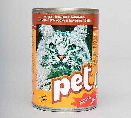 Pet Katze kostky s hovězí masem, 410g