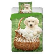 Bavlnené obliečky Pes v košíku, 140 x 200 cm, 70 x 90 cm