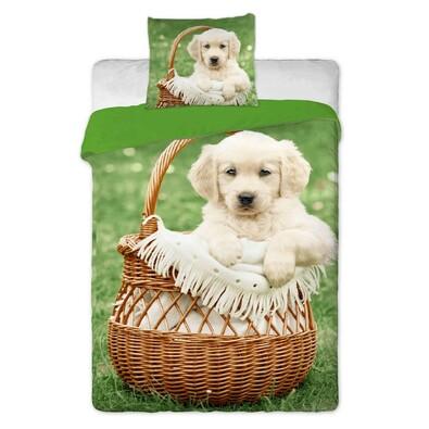 Bavlněné povlečení Pes v košíku, 140 x 200 cm, 70 x 90 cm