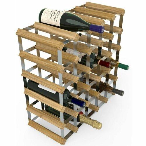 Stojan na víno RTA na 30 lahví, světlý dub - pozinkovaná ocel / rozložený