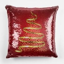 Domarex Vankúšik s flitrami Vianočný stromček, 40 x 40 cm