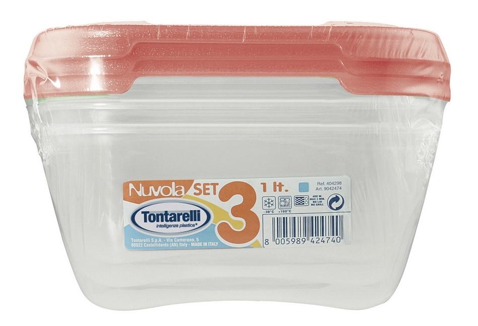 Tontarelli Sada plastových dóz na potraviny 3 x 1 l, červená