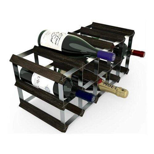Stojan na víno RTA na 15 lahví, černý jasan - pozinkovaná ocel / rozložený