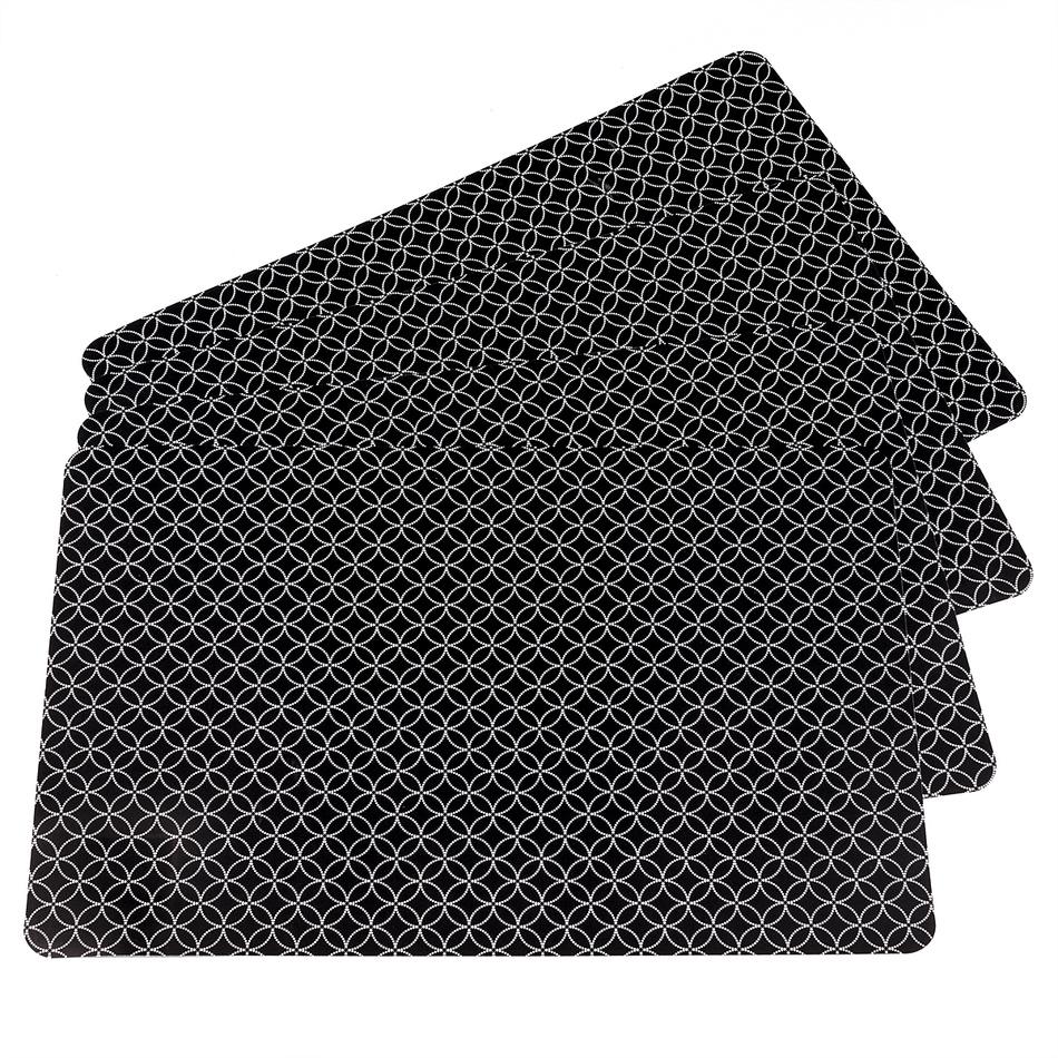 Koopman Prostírání Modern černá, 28 x 43 cm, sada 4 ks