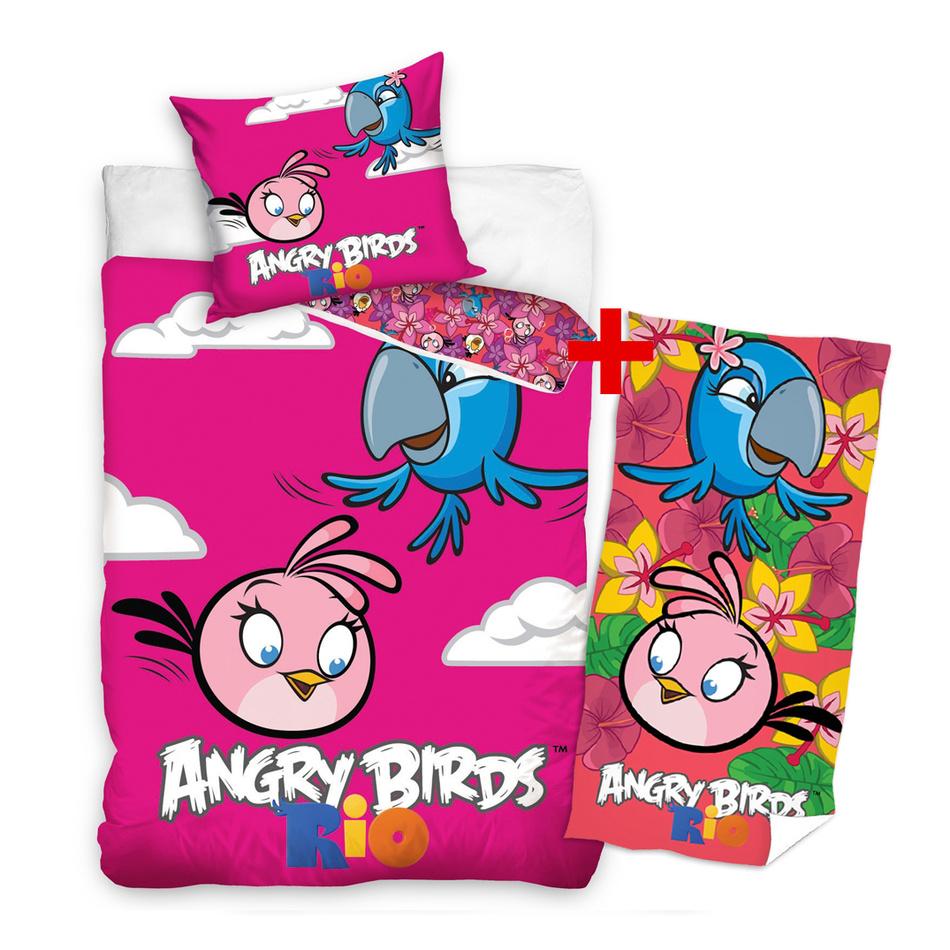 Výhodná sada pro holčičky bavlněné povlečení a osuška Angry Birds