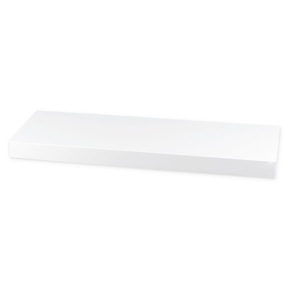 Nástěnná polička lesklá 60 cm, bílá, 60 cm