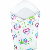 New Baby Păturică bebe Bufnițe, albă, 75 x 75 cm