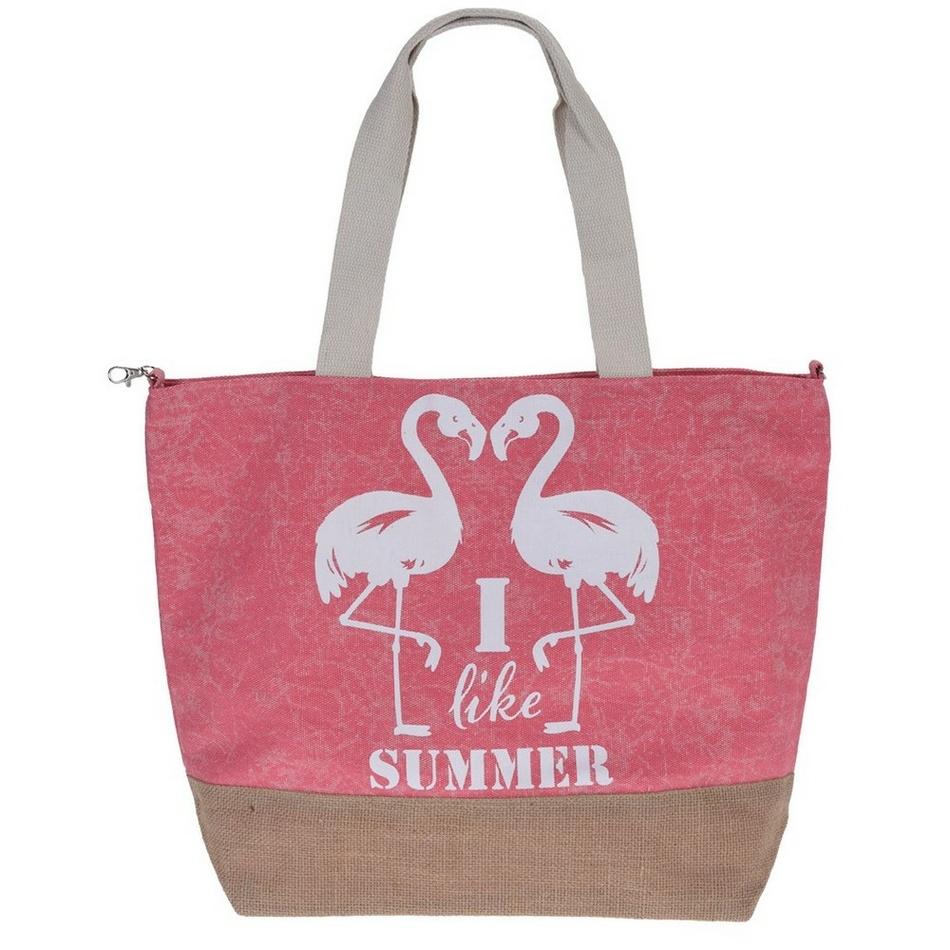 Plážová taška Plameňák, růžová