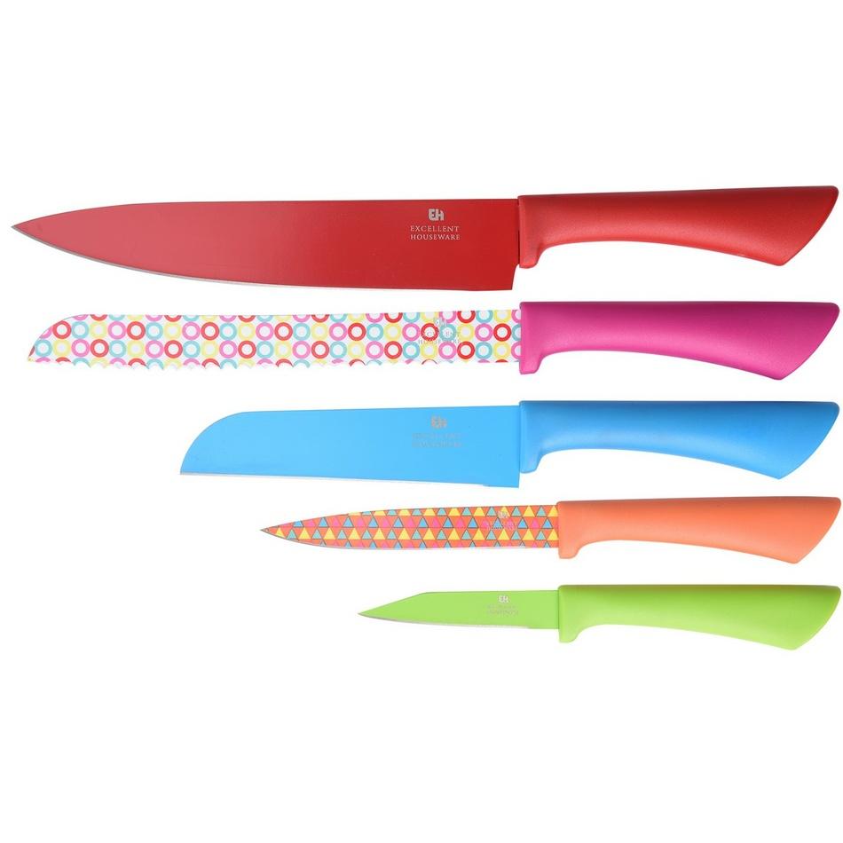 Sada 5 ks nožů s kryty a 4 prkénka, mix barev