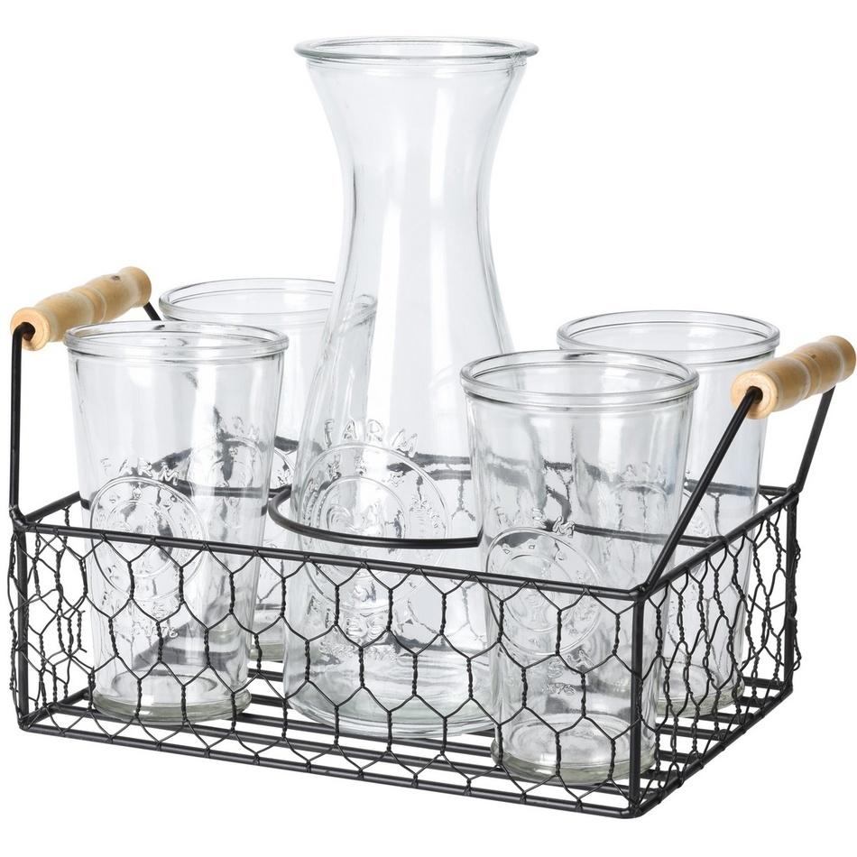 Koopman Sada karafy a 4 sklenic v drátěném stojanu