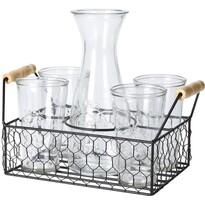 Koopman Komplet karafki i 4 szklanek w drucianym koszyku