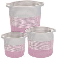 Hamois dekor kosár készlet, 3 db-os, rózsaszín