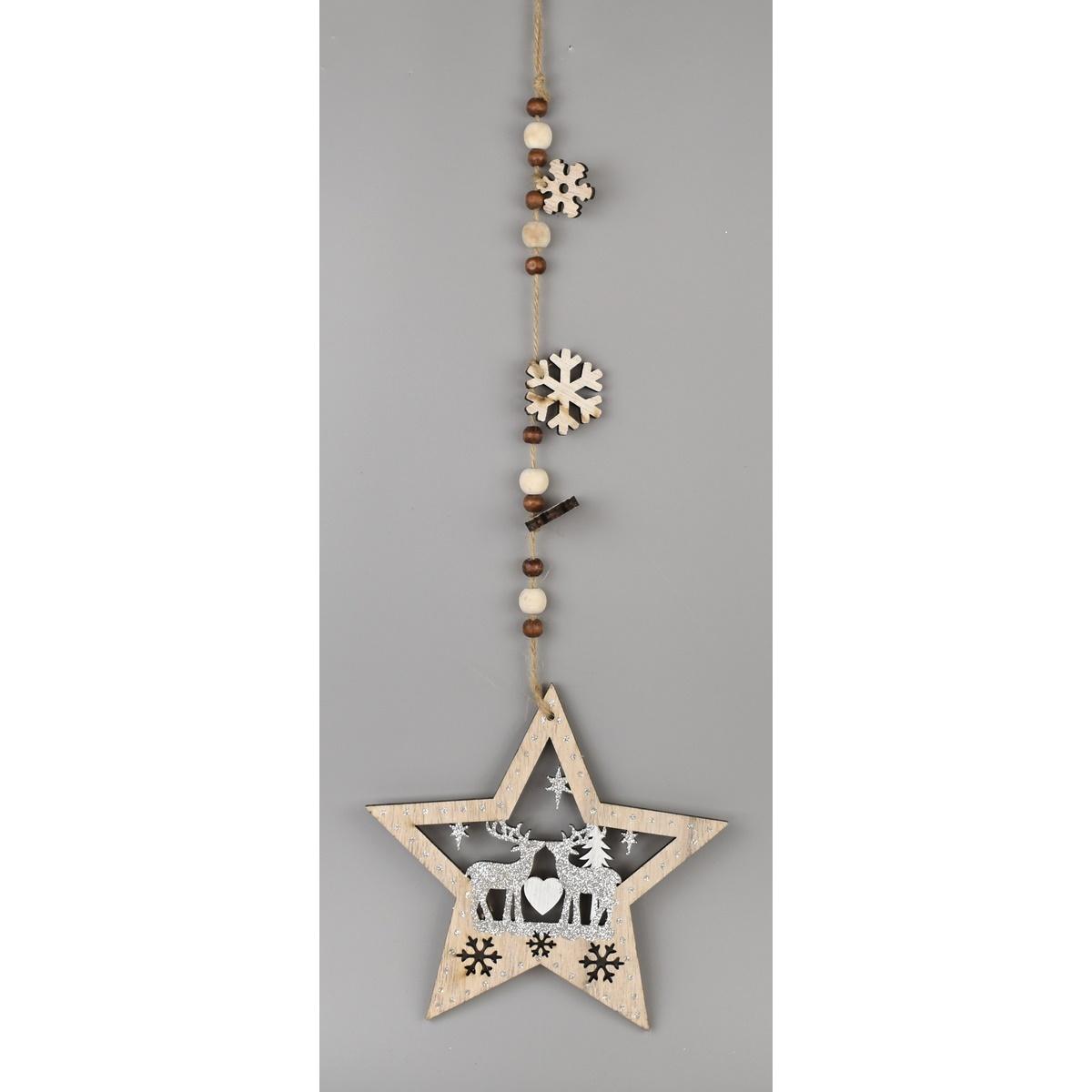 Vánoční závěsná dekorace Hvězda s jeleny, 52 cm