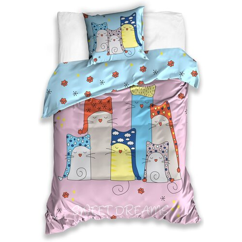 Cicák Sweet Dreams pamut ágynemű, 140 x 200 cm, 70 x 90 cm