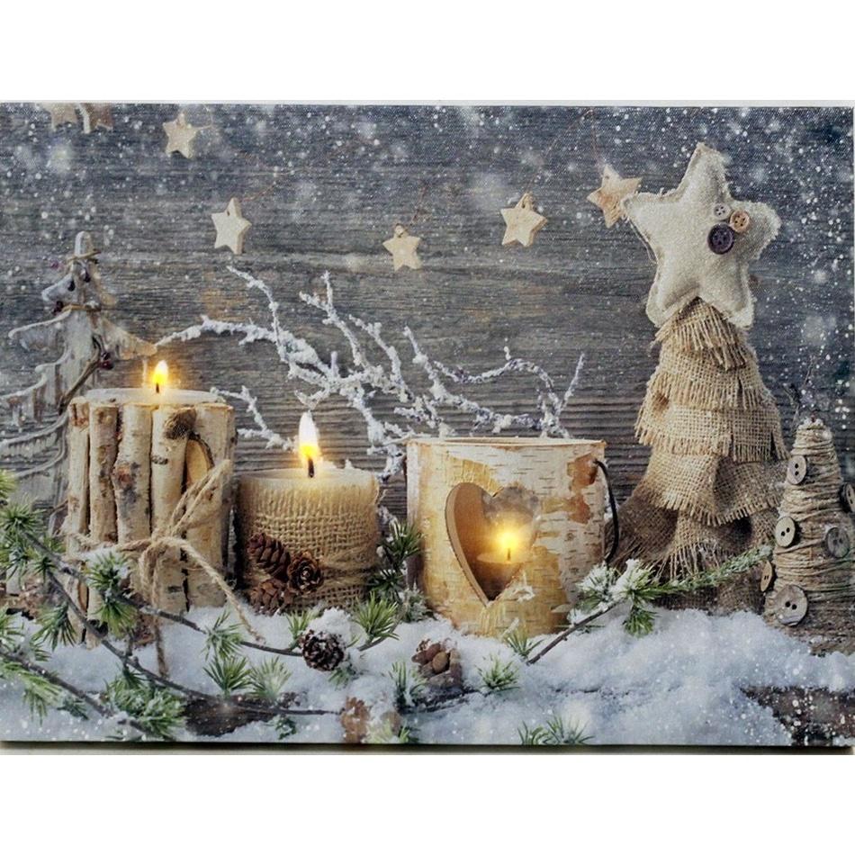 LED Obraz na plátně Padá sníh, 40 x 30 cm