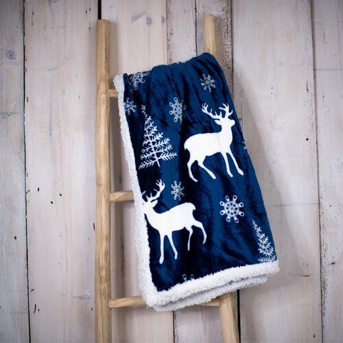 Baránková deka Jeleň modrá, 150 x 200 cm
