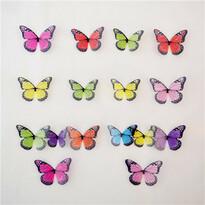 Samolepiace 3D motýle farebné, 18 ks