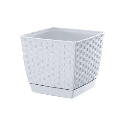 Ghiveci plastic Ratolla Square, alb