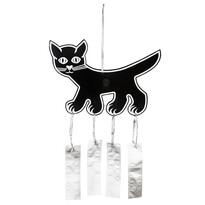 Plastia madárijesztő macska  41 x 28 cm fekete