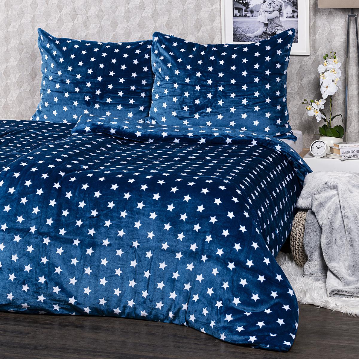 4Home povlečení mikroflanel Stars modrá, 140 x 220 cm, 70 x 90 cm, 140 x 220 cm, 70 x 90 cm
