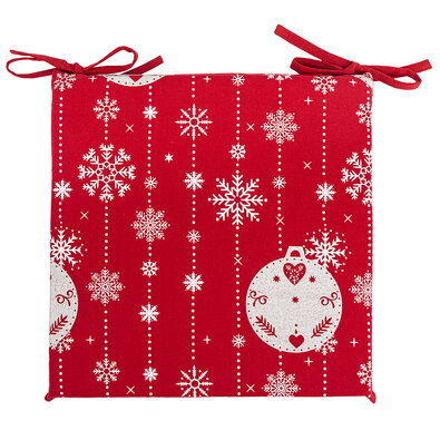Vianočný sedák na stoličku Vianočné ozdoby červená, 40 x 40 cm