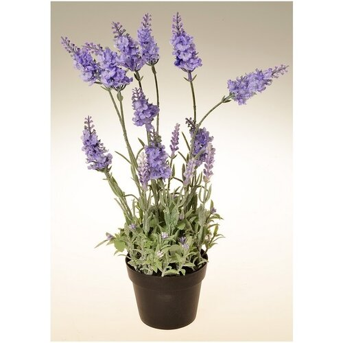 Umělá květina Levandule v květináči světle fialová, 38 cm