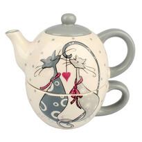 Kerámia teáskanna és csésze Cats