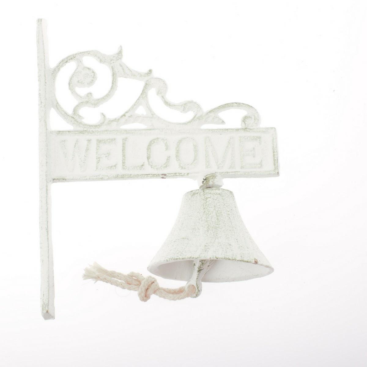 Závěsný litinový zvonek Welcome, 17 x 21 x 9 cm