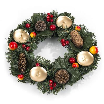 Coroniță Crăciun cu conuri și boabe, diam. 30 cm