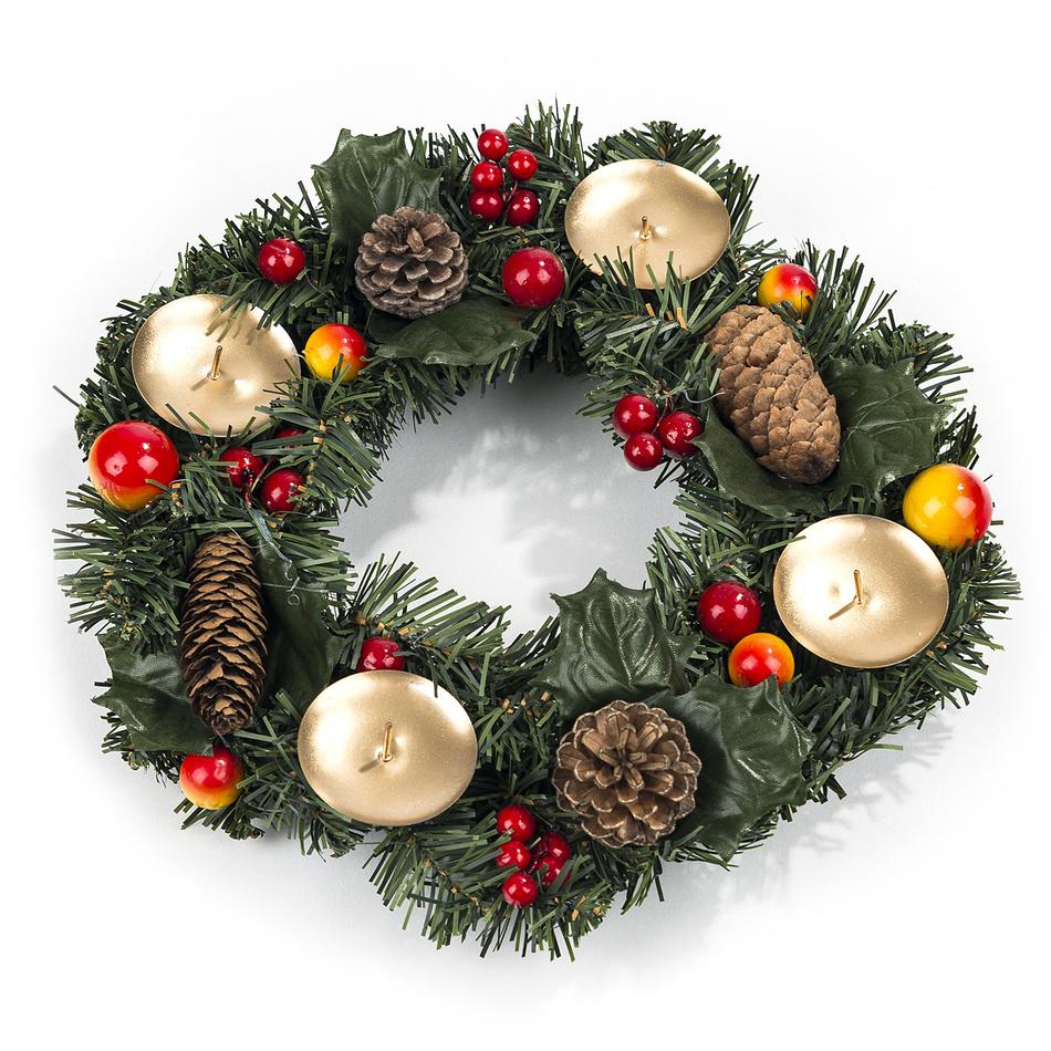 Vianočný veniec so šiškami a bobuľami pr. 30 cm, HTH