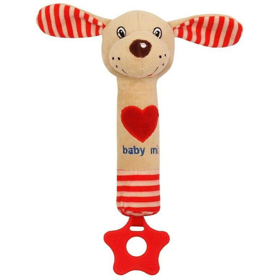 Baby Mix dětská pískací plyšová hračka s kousátkem pes modrý