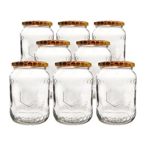 Orion Sada zaváracích pohárov s viečkom Včela 0,73 l, 8 ks