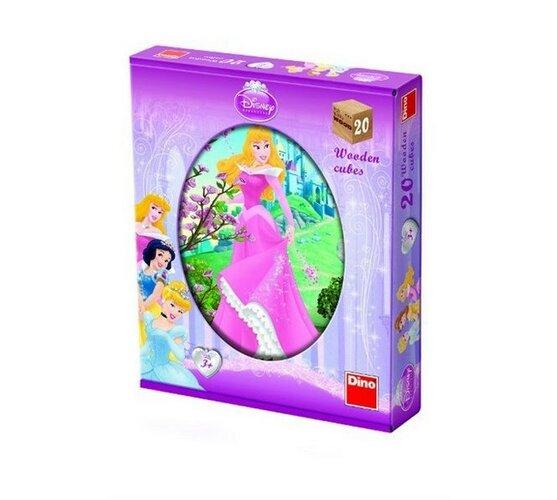 Dřevěné kostky Princezny, 20 kostek, viacfarebná