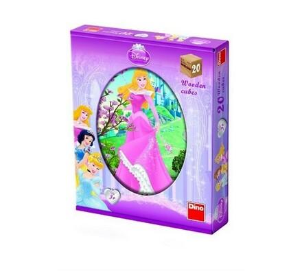 Dřevěné kostky Princezny, 20 kostek, vícebarevná