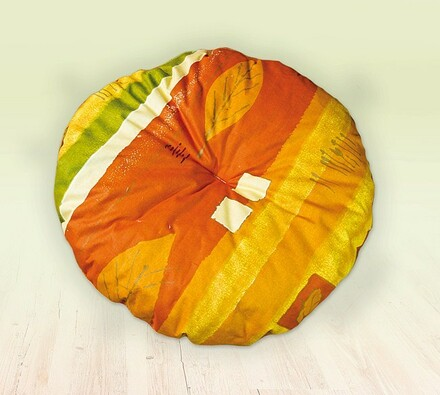 Ratanová taburetka, oranžová