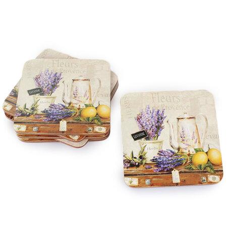 Korkové prostírání pod šálek Levandule de Provence, 10 x 10 cm, sada 6 ks