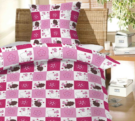Dětské bavlněné povlečení Ovečky do postýlky 40x60, růžová,  90 x 130 cm, 40 x 60 cm