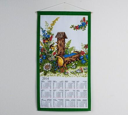 Textilní kalendář 2014 Lesní pramen, 35 x 65 cm