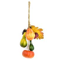Őszi felakasztható dekoráció, sütőtökkel, tobozokkal, levelekkel, 40 cm