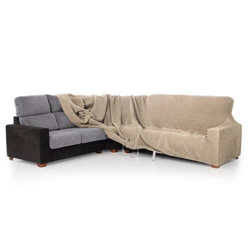 Multielastický potah na rohovou sedací soupravu Contra světle béžová, 340 - 540 cm