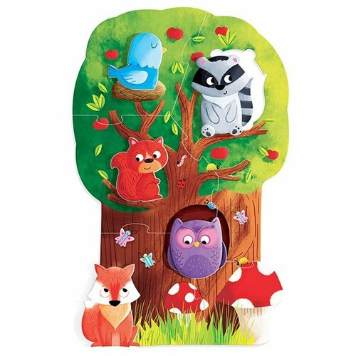 Fotografie HEADU Moje první puzzle Les s 5 dřevěnými figurkami (Montessori)