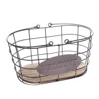 Kovový oválny košík Welcome, 30 x 15 x 18 cm